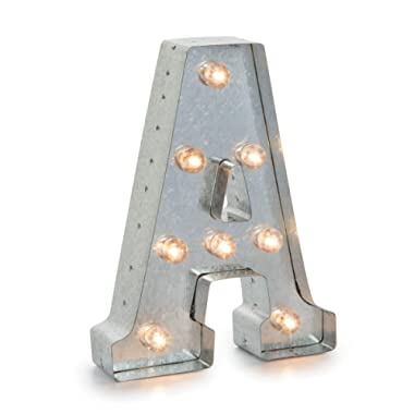 Darice Silver Metal Marquee Industrial, Vintage Style Light Up Letter Includes an On/Off Switch, Perfect for Events or Home Décor (5915-702)