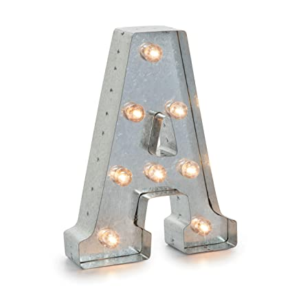 darice silver metal marquee letter a industrial vintage style light up letter includes an