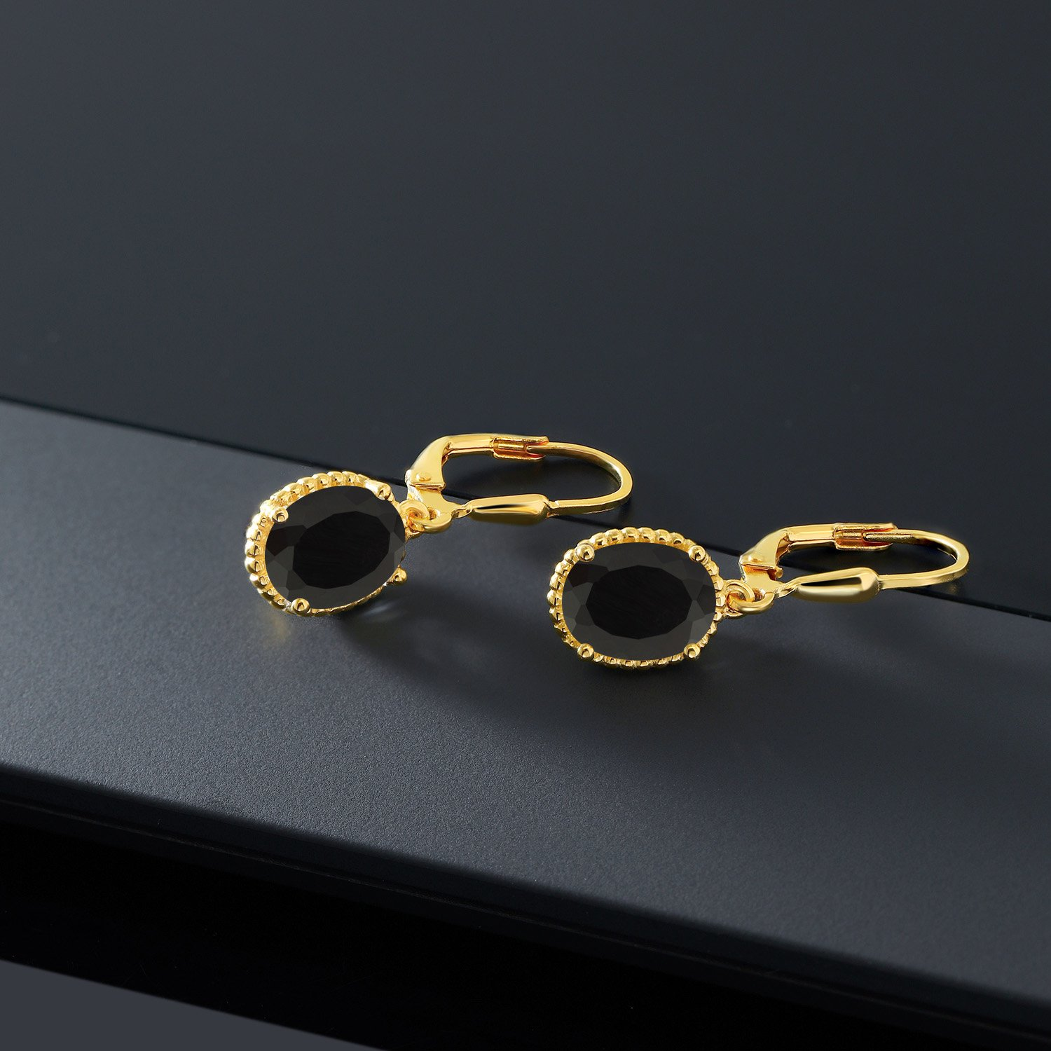 4.00 Ct Oval Black Onyx 18K Yellow Gold Plated Silver 27mm Length Dangle Earrings by Gem Stone King (Image #4)