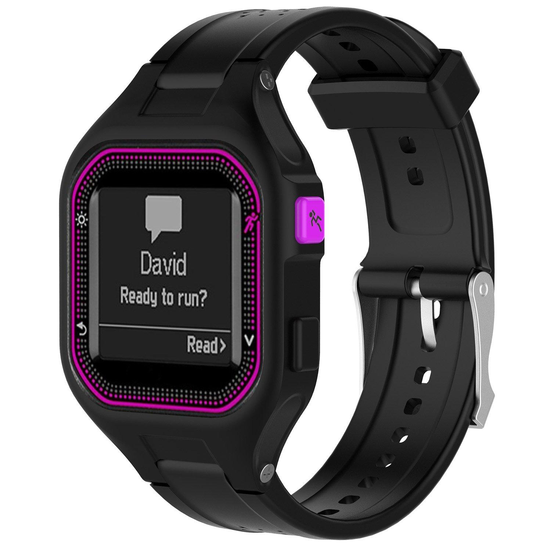 QGHXO Band for Garmin Forerunner 25, Soft Silicone Replacement Watch Band Strap for Garmin Forerunner 25 GPS Running…