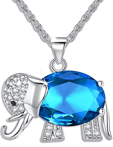 Amazon womens and girls pendant necklace jewelry blue crystal womens and girls pendant necklace jewelry blue crystal elephant best gift for ladies aloadofball Images