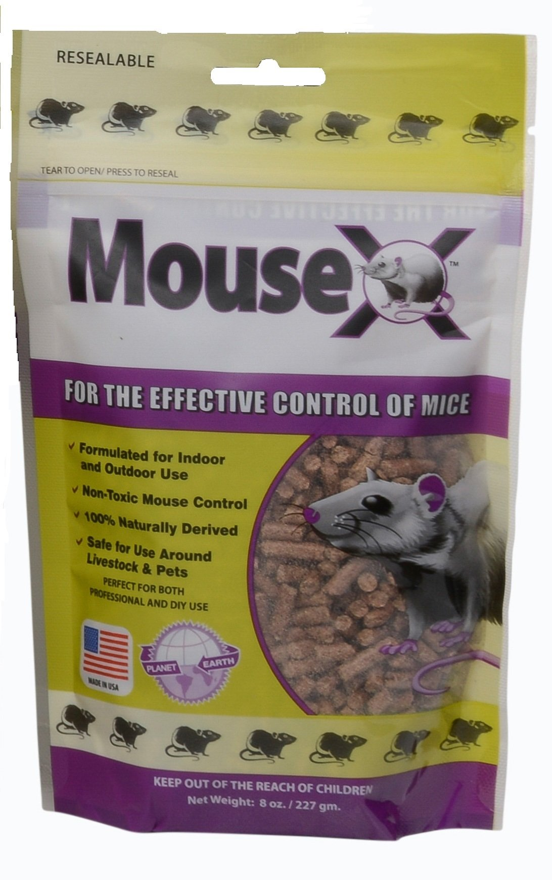 EcoClear Products 620200, MouseX All-Natural Non-Toxic Humane Mouse Killer Pellets, 8 oz. Bag