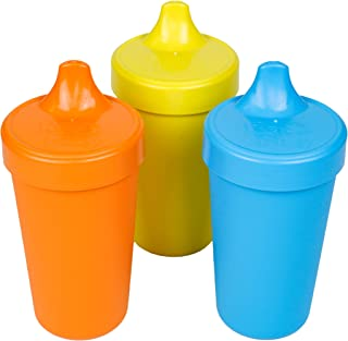 product image for Re-Play Made in USA 3pk No Spill Cups for Baby, Toddler, and Child Feeding in Orange, Yellow and Sky Blue   Made from Eco Friendly Heavyweight Recycled Milk Jugs - Virtually Indestructible (Spring)