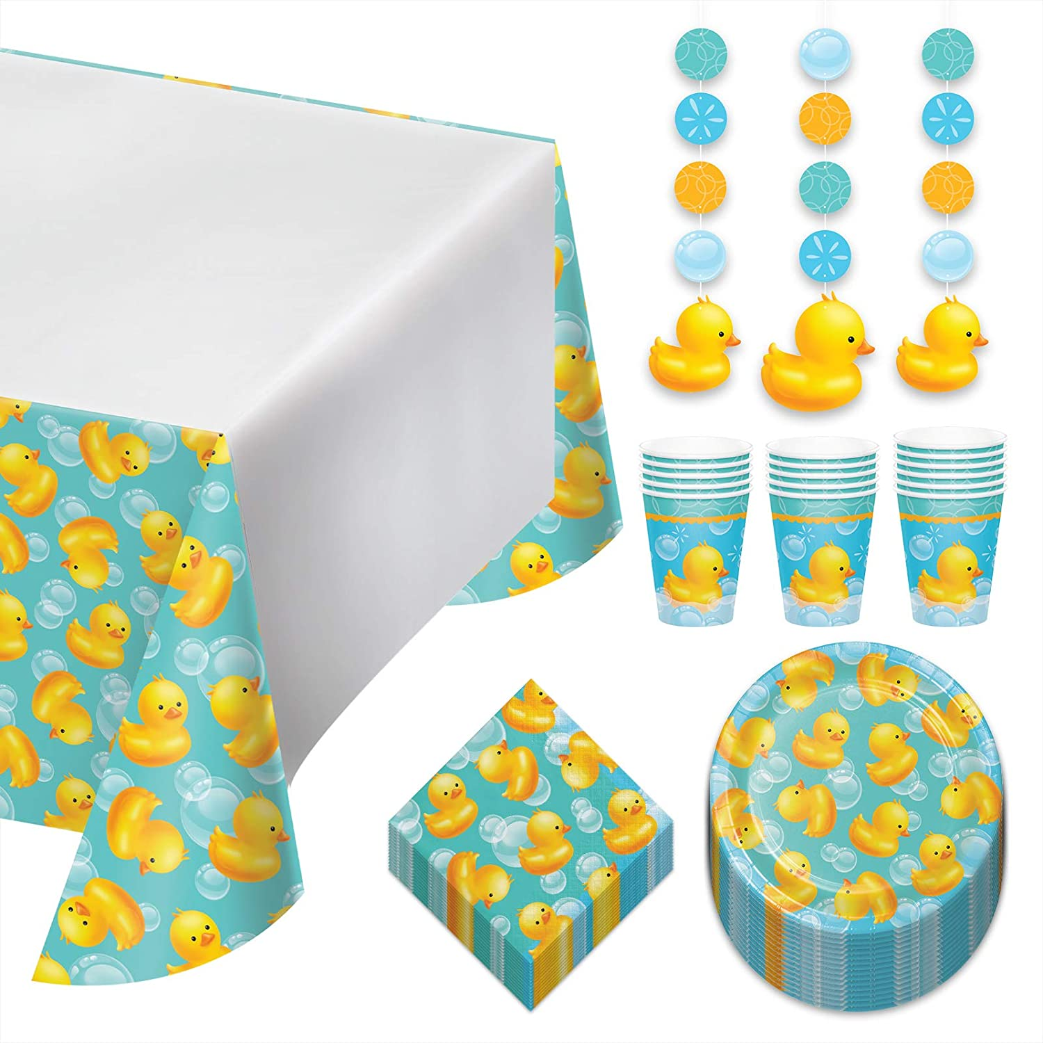 Rubber Duck Dessert Party Pack - Bubble Bath Paper Plates, Napkins, Cups, Table Cover, and Hanging Cutouts Set (Serves 16)