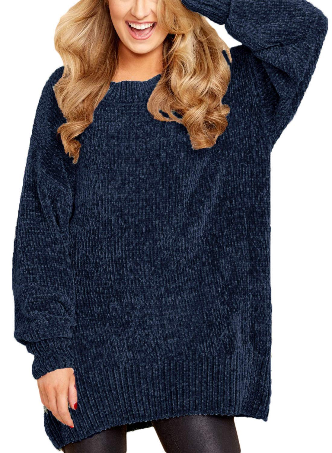 HOTAPEI Women Sweaters Casual Oversized Baggy Velvet Knitted Long Sleeve Pullover Sweaters Women Plus Size Loose Blue 2XL