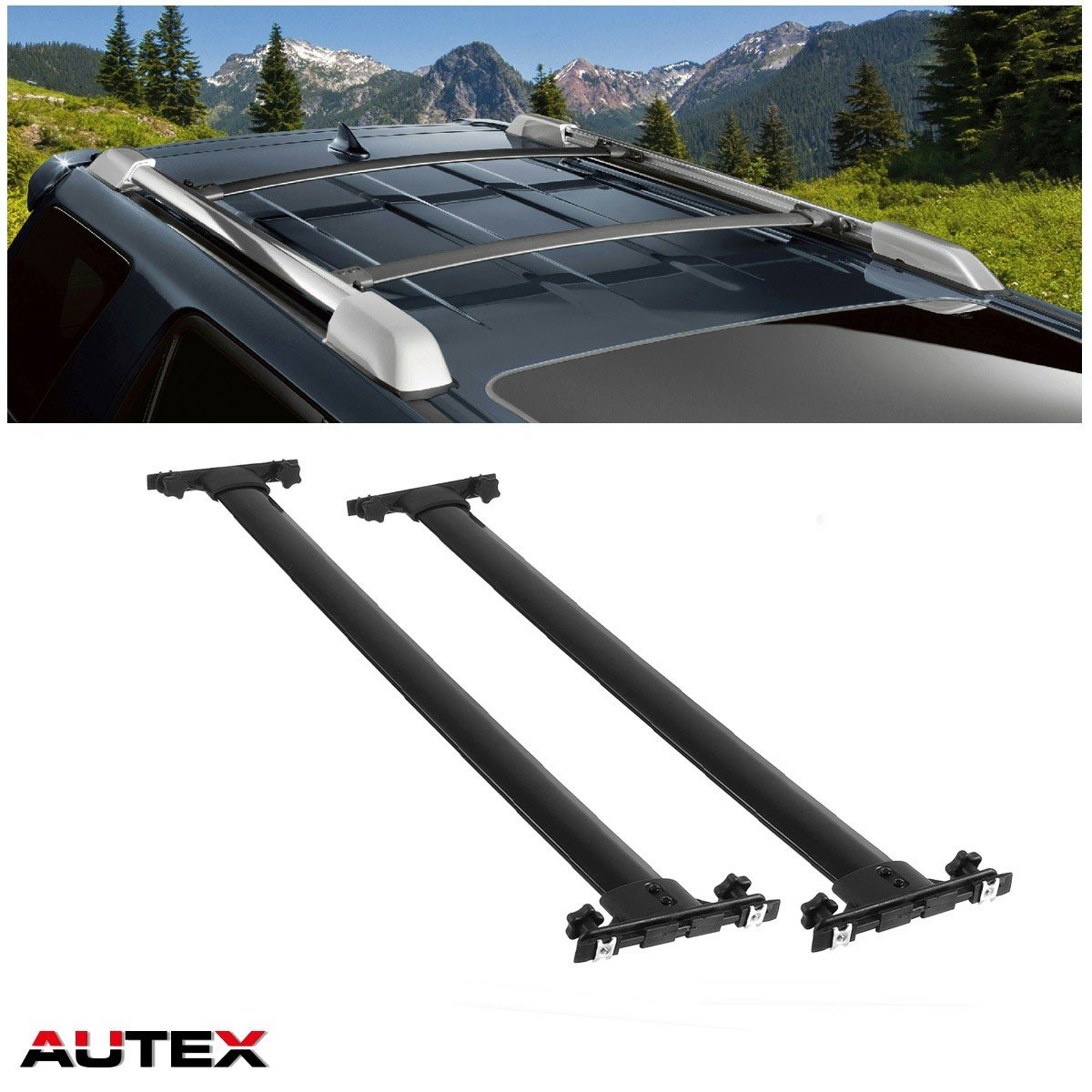 AUTEX Aluminum Cross Bar Roof Rack Compatible with Toyota Highlander 2008 2009 2010 2011 2012 2013 Highlander Crossbar Rooftop Rack Luggage Carrier Cargo Bars
