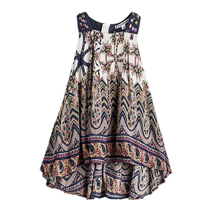 1ff4b7ffb Amazon.com  Summer Bohemian Ethnic Dresses for Little Girls Short ...
