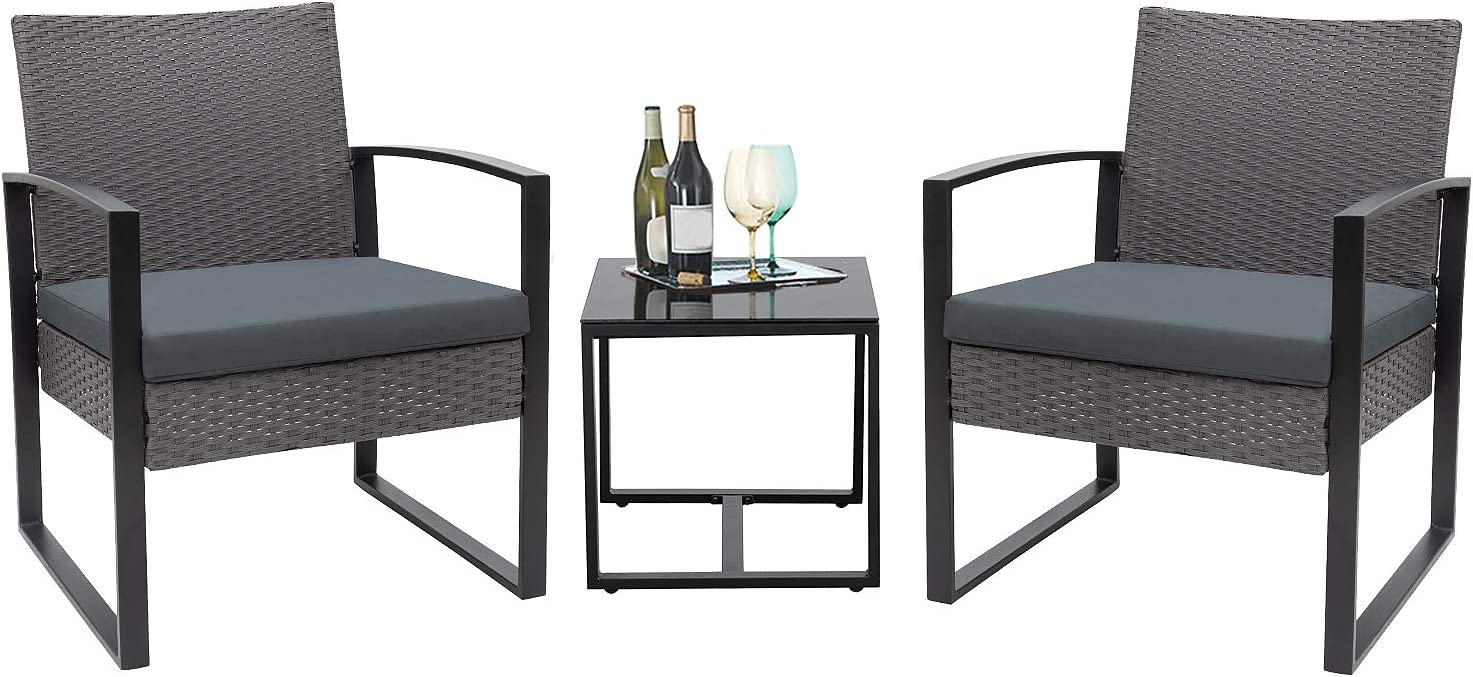 Flamaker 3 Pieces Patio Set Outdoor Wicker Patio Furniture Sets Modern Bistro Set Rattan Chair Conversation Sets with Coffee Table Light Gray