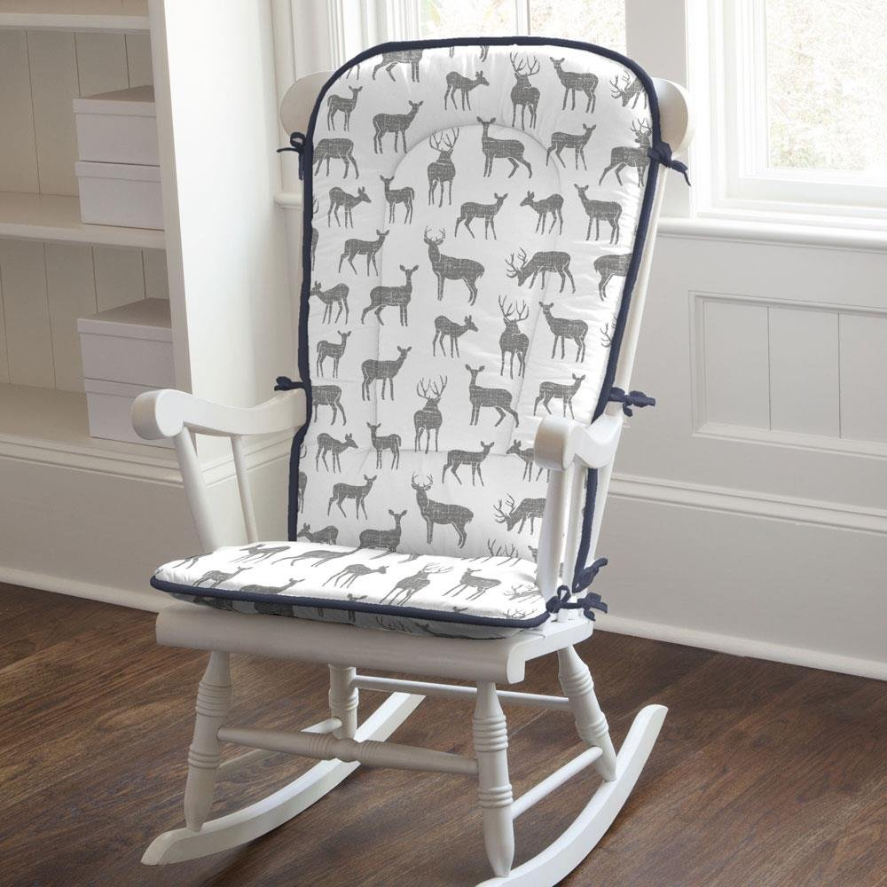 Carousel Designs Gray and Navy Deer Rocking Chair Pad