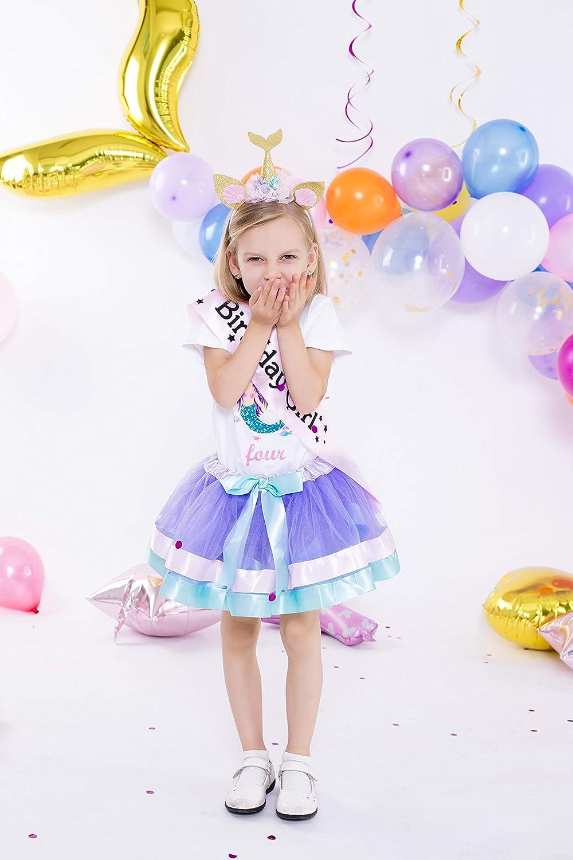 Girls Lavender Tutu Dress with Mermaid Birthday Tshirt /& Headband 3-8 Years