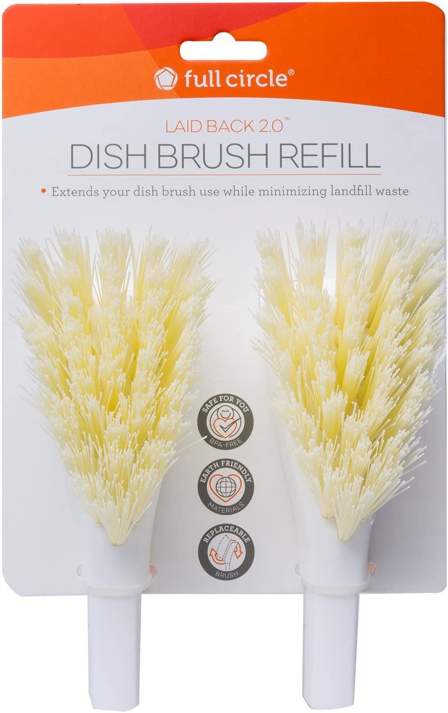 Full Circle Laid Back 2.0 Dish Brush Refill Replacement Head, 2 Pack