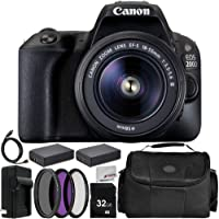Canon EOS 200D / SL2 Camera EF-S 18-55mm F3.5-5.6 III Lens 11PC Accessory Bundle – Includes 32GB SD Memory Card + 2X Replacement Batteries + More - International Version (No Warranty)