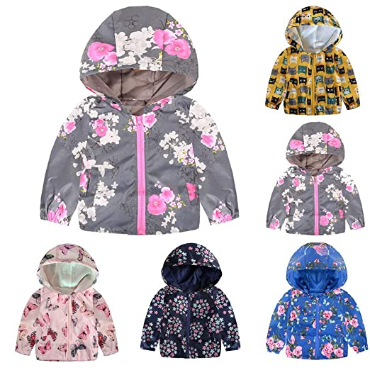 6fb1c7eb5 Amazon.com: Sunbona Clearance Sale Toddler Baby Boys Girls Autumn  Windbreaker Outerwear Jacket Long Sleeve Print Hoodie Coat: Clothing