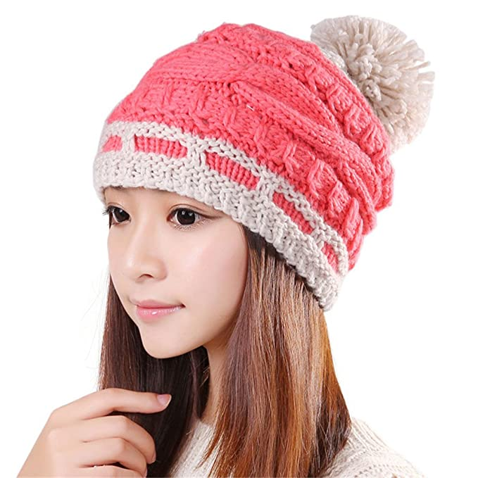 73dff940f30 BIBITIME Handmade Double Color Cross Knitted Beanie Top Pompom Cap Women  Ski Hat (One Size