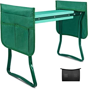 iPower Kneeler and Seat Foldable Kneeling Bench with Sturdy Soft EVA Foam Pad for Outdoor Gardening, Fishing, Camping, 2 Tool Pouches, and 1 Apron Included