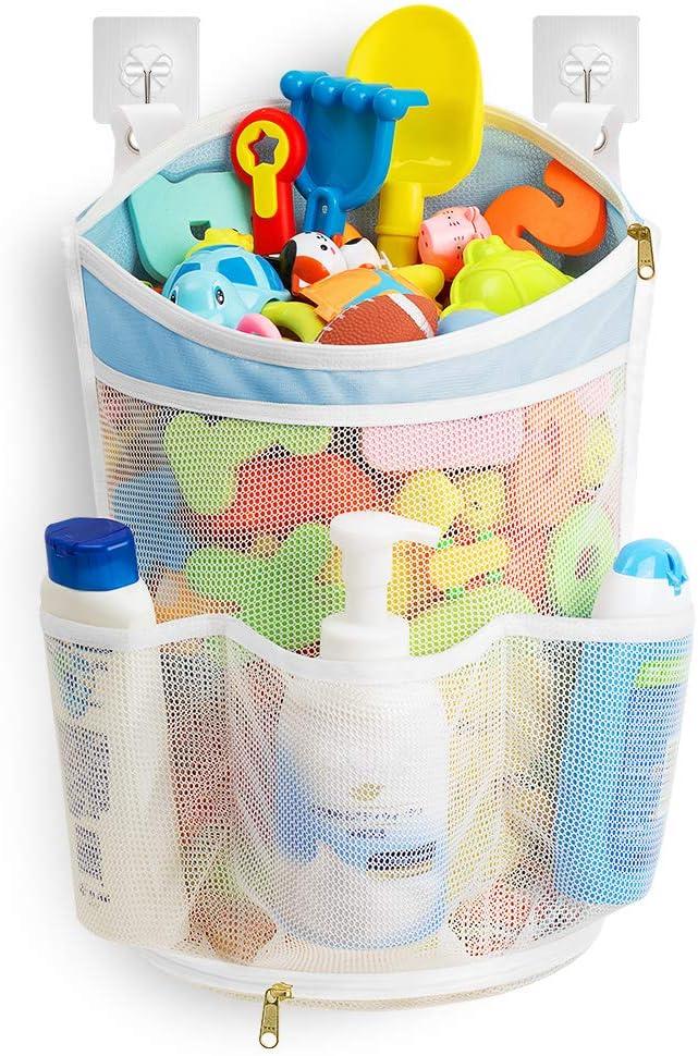 Bathtub Baby Toy Storage Bag with 3 Side Pockets Multiple Ways to Hang Large, White Tenrai Mesh Bath Toy Organizer with YKK Zipper Ultra Large Capacity /& Large Opening