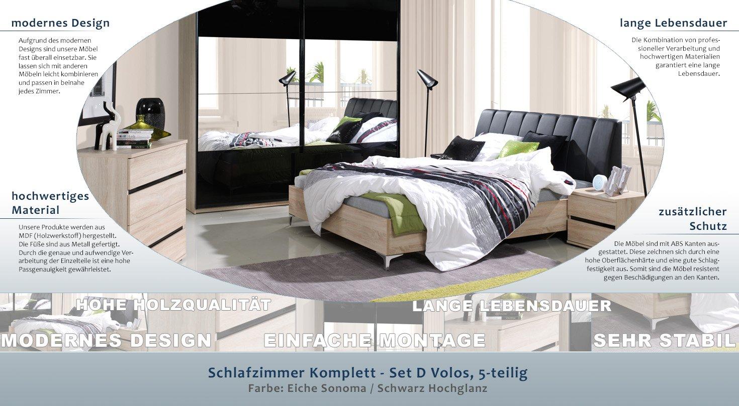 Schlafzimmer Komplett Set D Volos 5 Teilig Farbe Eiche Sonoma