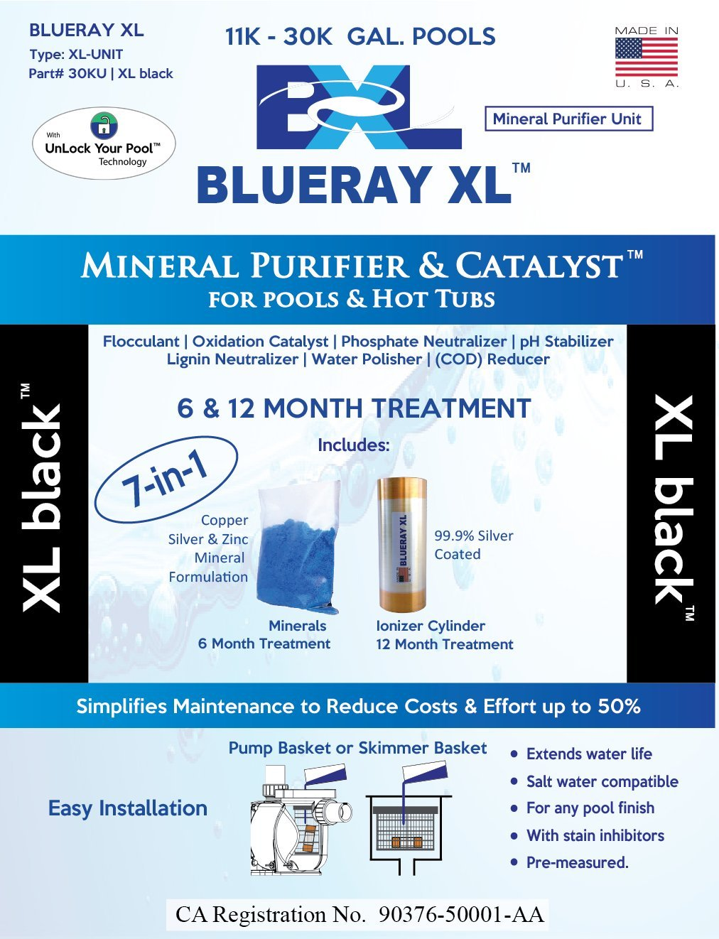 Blueray XL - XL Black | Mineral Purifier & Catalyst for Pools and Hot Tubs ... by Blueray XL
