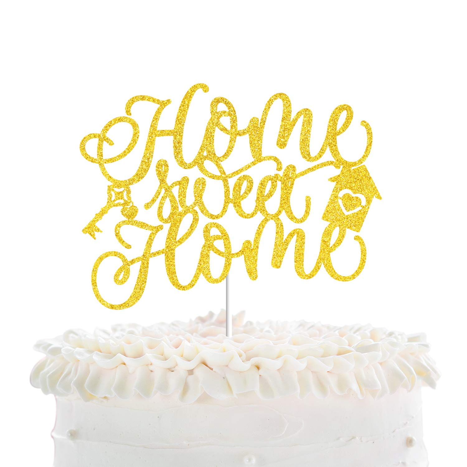 Home Sweet Home Cake Toppers - New House Housewarming Party Gold Glitter Key Cake Décor - Welcome Home Family Party Decorations