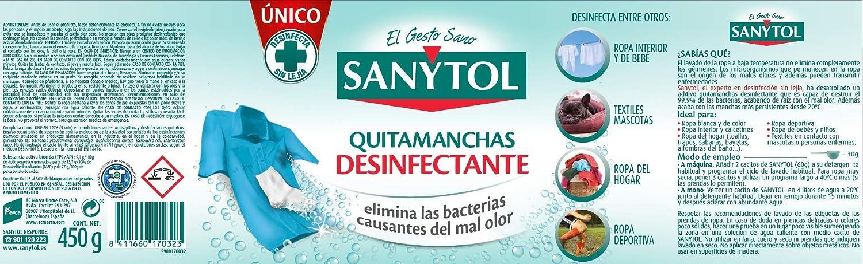 Sanytol - Quitamanchas Desinfectante de Tejidos, 450 gr: Amazon.es ...