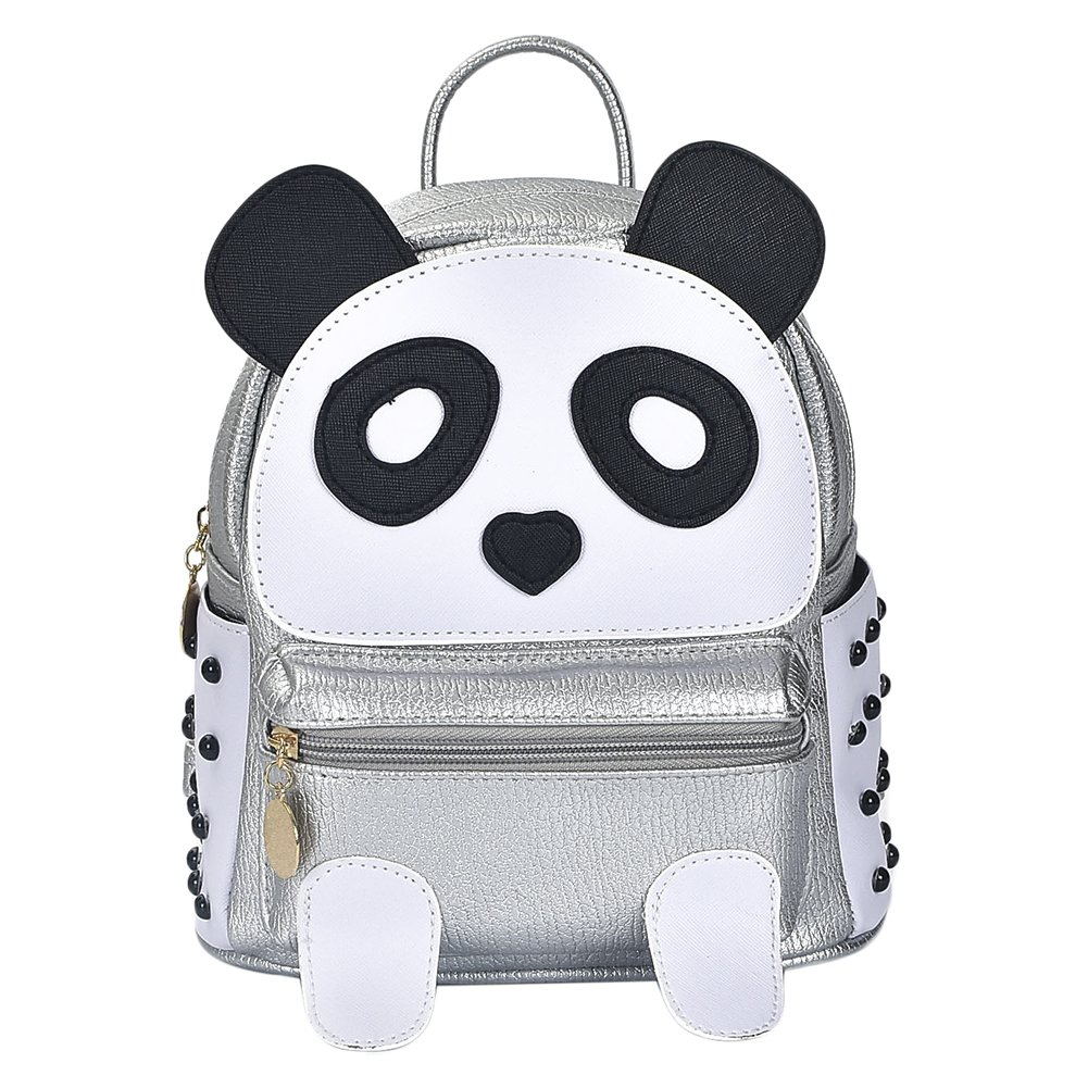 Girls Fashion PU Leather Panda Book Bag Rivet Women Mini Casual Style Panda Backpack Silver