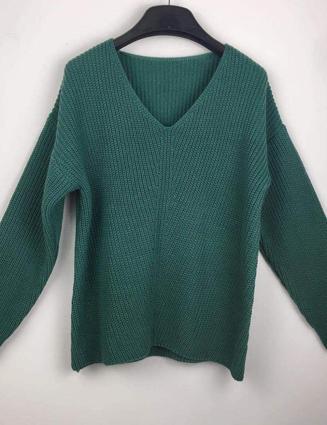 XioNiu Women Winter V Neck Sweater Knitted Solid Color Jumper Sweater Pullovers Green