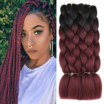 Xtrend 5pcs 2 Tone Ombre Kanekalon Braiding Hair Crochet Braids Hair 24 Inch Synthetic Jumbo Box Braids Hair Extension For Women 100g Pc 5 Pieces Black Bug Beauty