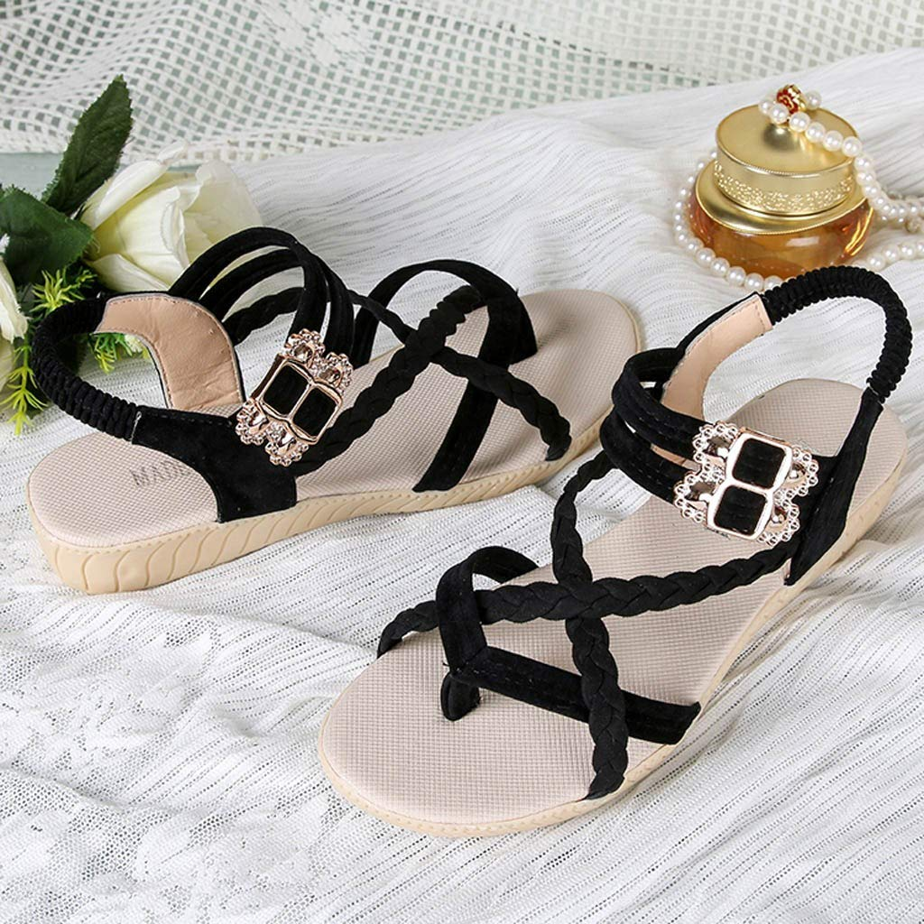 HHei_K Women Summer Pure Color Simple Flat Buckle Strap Rome Shoes Elastic Band Open Toe Students Casual Beach Sandals Black by HHei_K (Image #6)