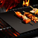 BBQ Grill Mat ,Set of 3 100% Non-Stick Grilling Mats- Barbecue Grill Mats-For Gas, Electric, Microwave & Toaster Ovens ,15.75 x 13 Inches