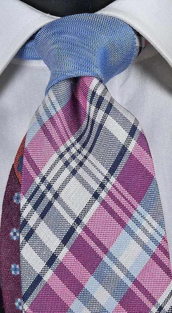 Graffeo Corbata de hombre de seda y lino a cuadros fucsia, azul ...