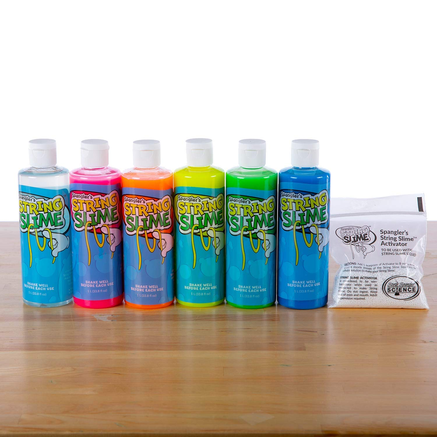 Steve Spangler's Rainbow String Slime, 6 8oz bottles of Slime, DIY Slime Kit by Steve Spangler Science
