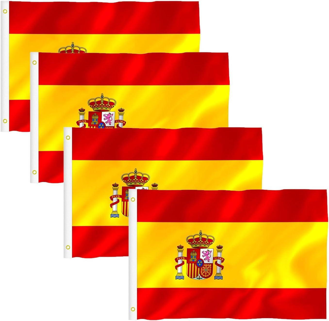 Tesan Bandera España Grande, Bandera de España, Resistente a la Intemperie, 90 x 150 cm, 4pcs: Amazon.es: Jardín