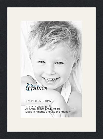 Arttoframes 11 X 17 Inch Opening Single Mat With A Satin Black 1 25 Wide Picture Frame 2 Super White Mat