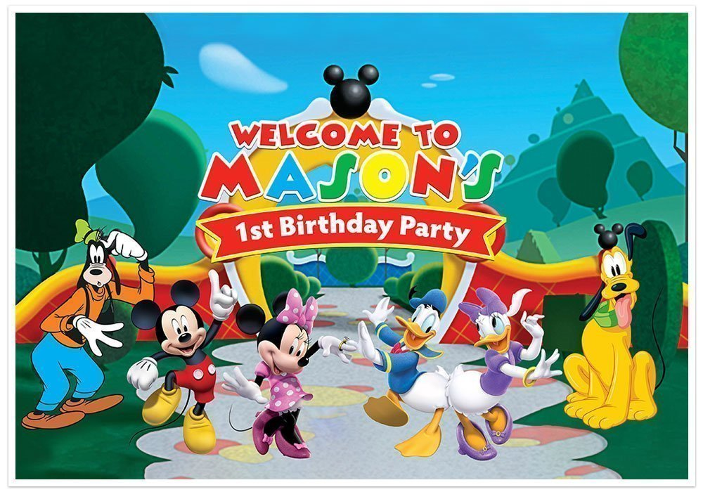 Mickey Mouse Clubhouse Birthday Banner Personalized Party Decoration Cake Table Backdrop - RED by Paper Blast
