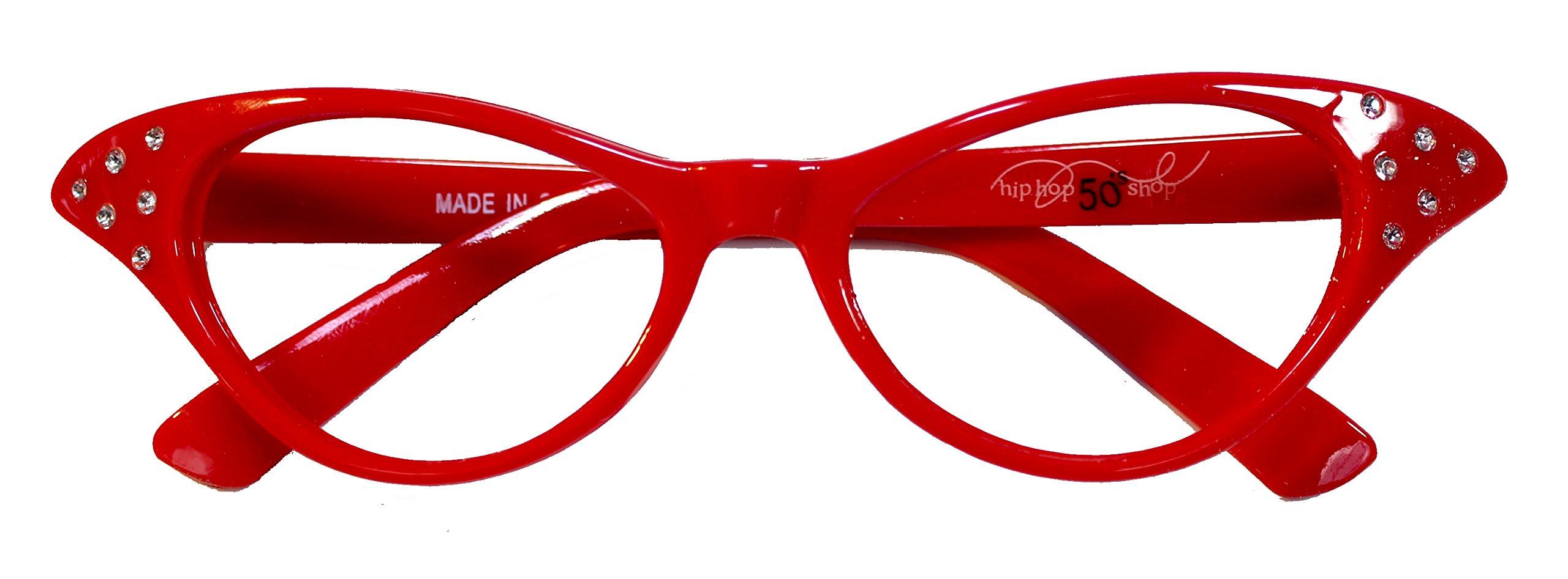 b36512508945 Hip Hop 50s Shop Womens Cat Eye Rhinestone Glasses Black Forum Novelties  Accessories