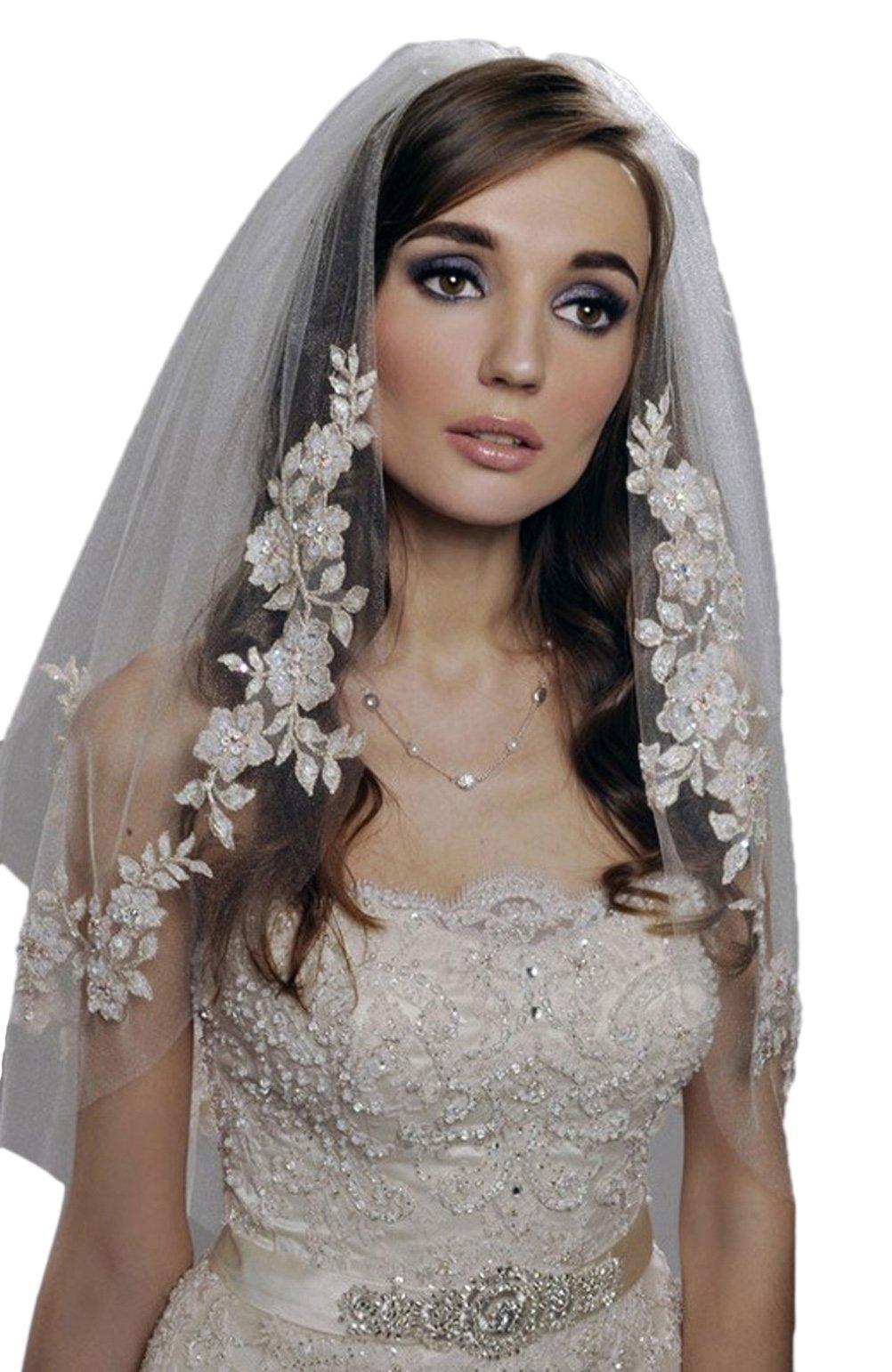 Xoemir Off White Short Tulle Bridal Veils for Wedding Hair Headpieces for Women
