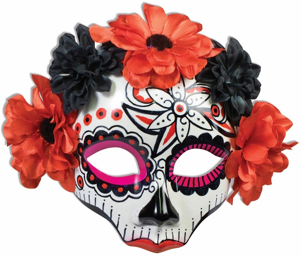 Female Day of the Dead Mask with Flowers on Glasses (Red) by Faerynicethings