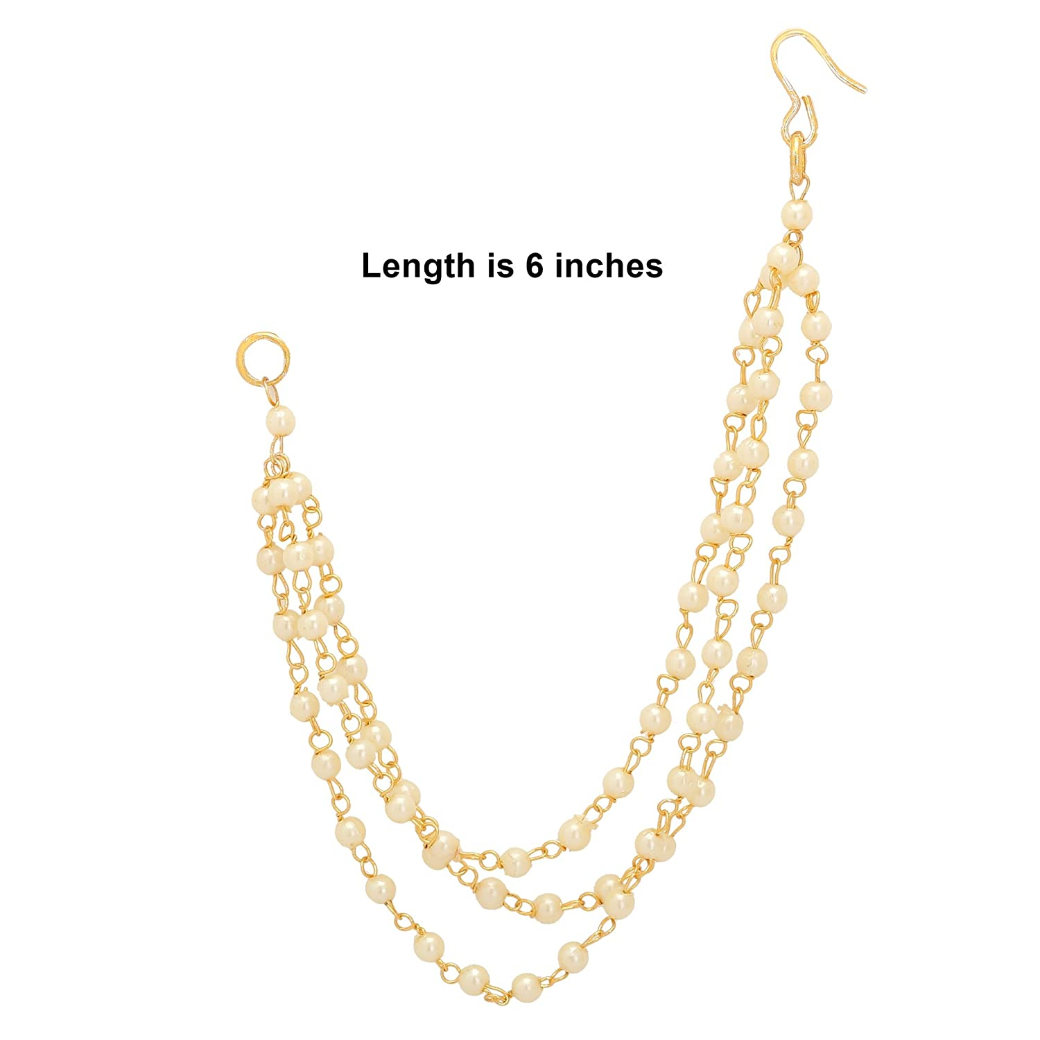 7b36b4c914a1b Jwellmart Indian Bollywood Gold Plated Faux Pearl Ear Chains for ...