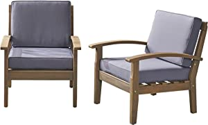 Christopher Knight Home 305883 Keanu Outdoor Wooden Club Chairs (Set of 2), Gray/Dark Gray