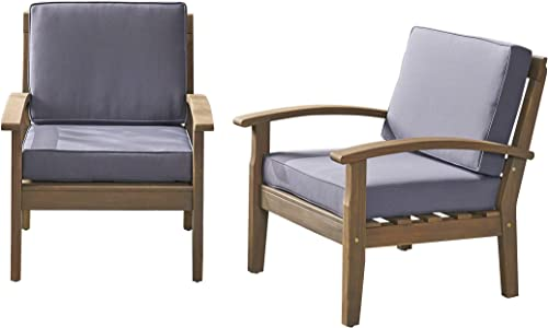 Christopher Knight Home 305883 Keanu Outdoor Wooden Club Chairs Set of 2 , Gray Dark Gray