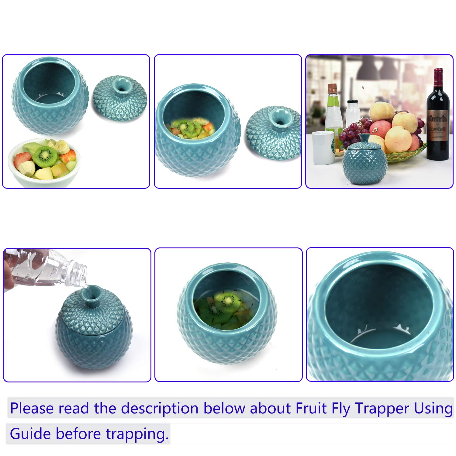 ATHORBOT Fruit Fly Catcher Trapper for Home Kitchens Natural Pest Control Chemical Free Nontoxic Decorative Kid and Pet Friendly (Blue)