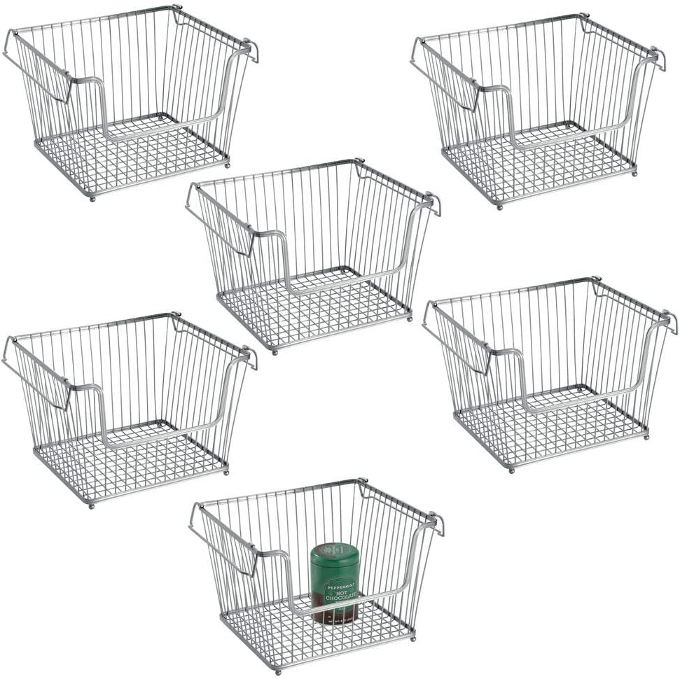 mDesign Modern Stackable Metal Storage Organizer Bin Basket with Handles, Open Front for Kitchen Cabinets, Pantry, Closets, Bedrooms, Bathrooms, Large, 6 Pack - Silver