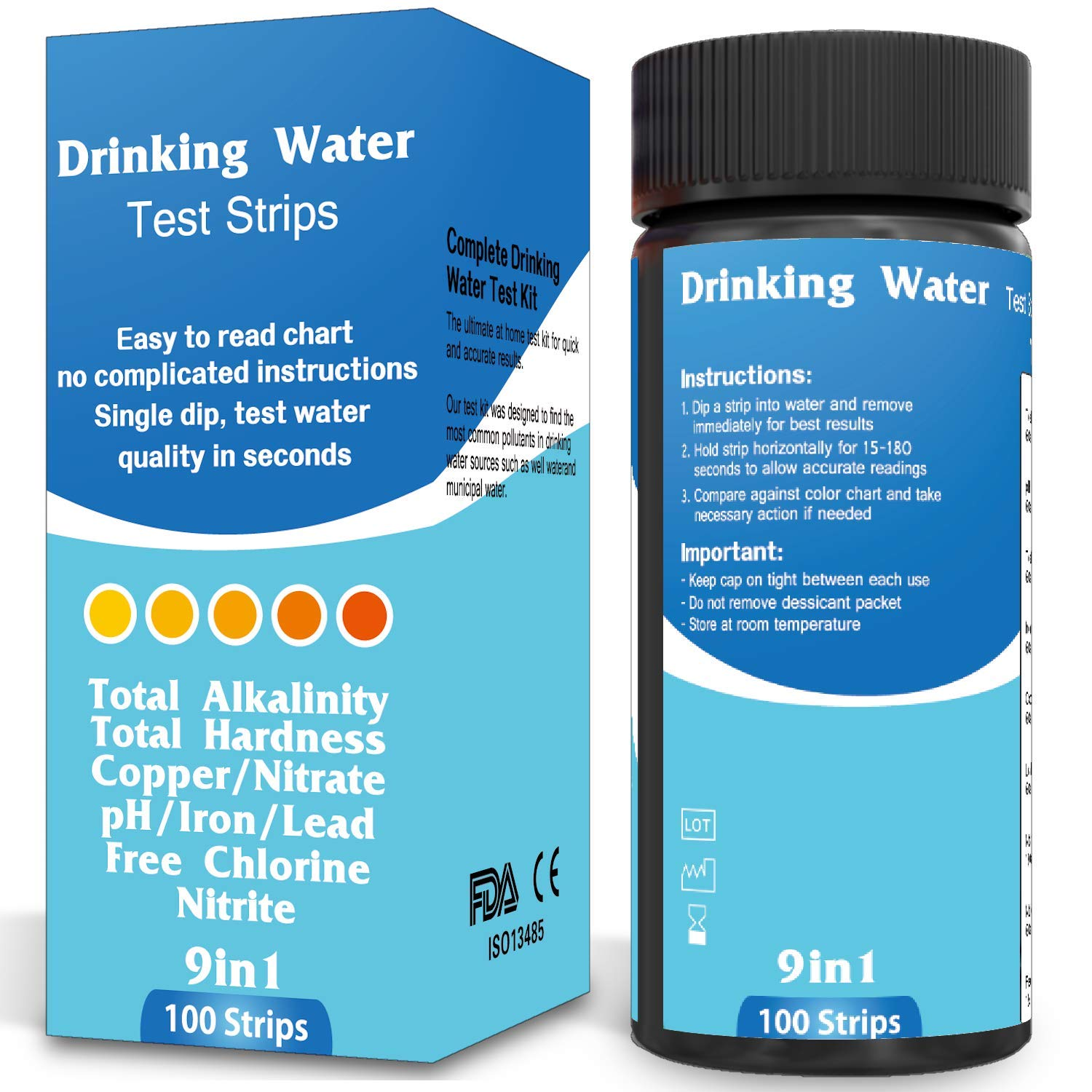 BNS Drinking Water Test Strips. Accurate Tester Strip for pH, Chlorine, Nitrite, Nitrate, Lead, Total Hardness, and More. Home Test with Easy to Read Testing Results in Seconds.