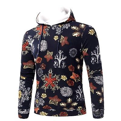 HDGTSA Men's Hooded Sweatshirt 3D Printed Graffiti Hoodie Pullover Long Sleeve Tops Blouse at Men's Clothing store