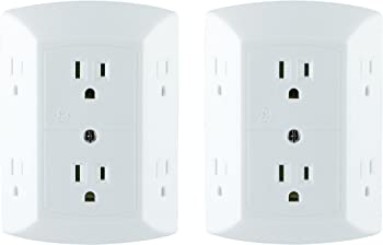 2-Pack GE Grounded 6-Outlet Wall Tap