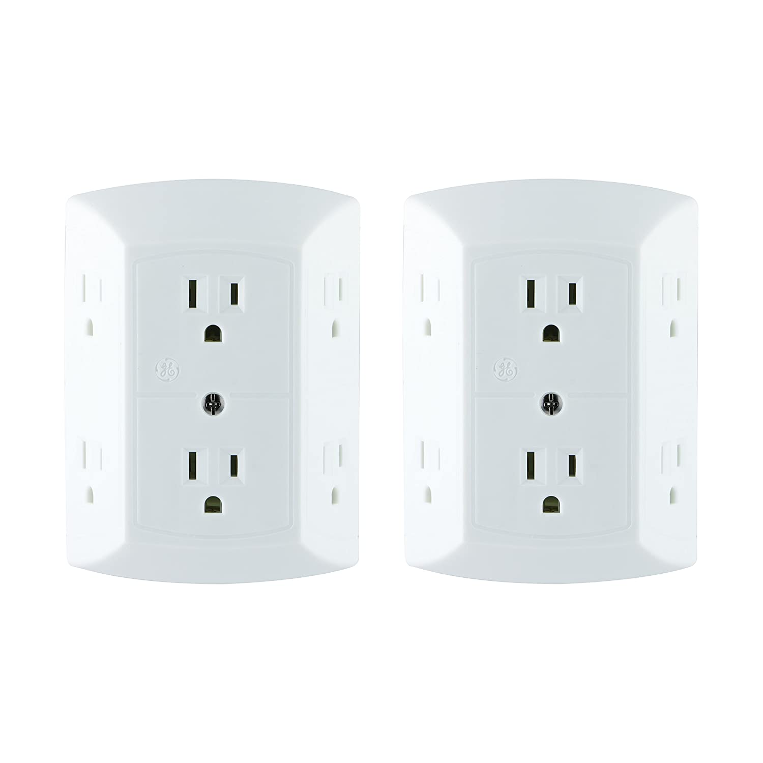 GE Office, Home Theater, Kitchen, or Bathroom, 6 Plug Strip 2 Pack, Extra Wide Spaced Cell Phone, Power Adapter, 3 Prong, Multi Outlet Wall Charger, Quick & Easy Install, UL Listed, White, 40222