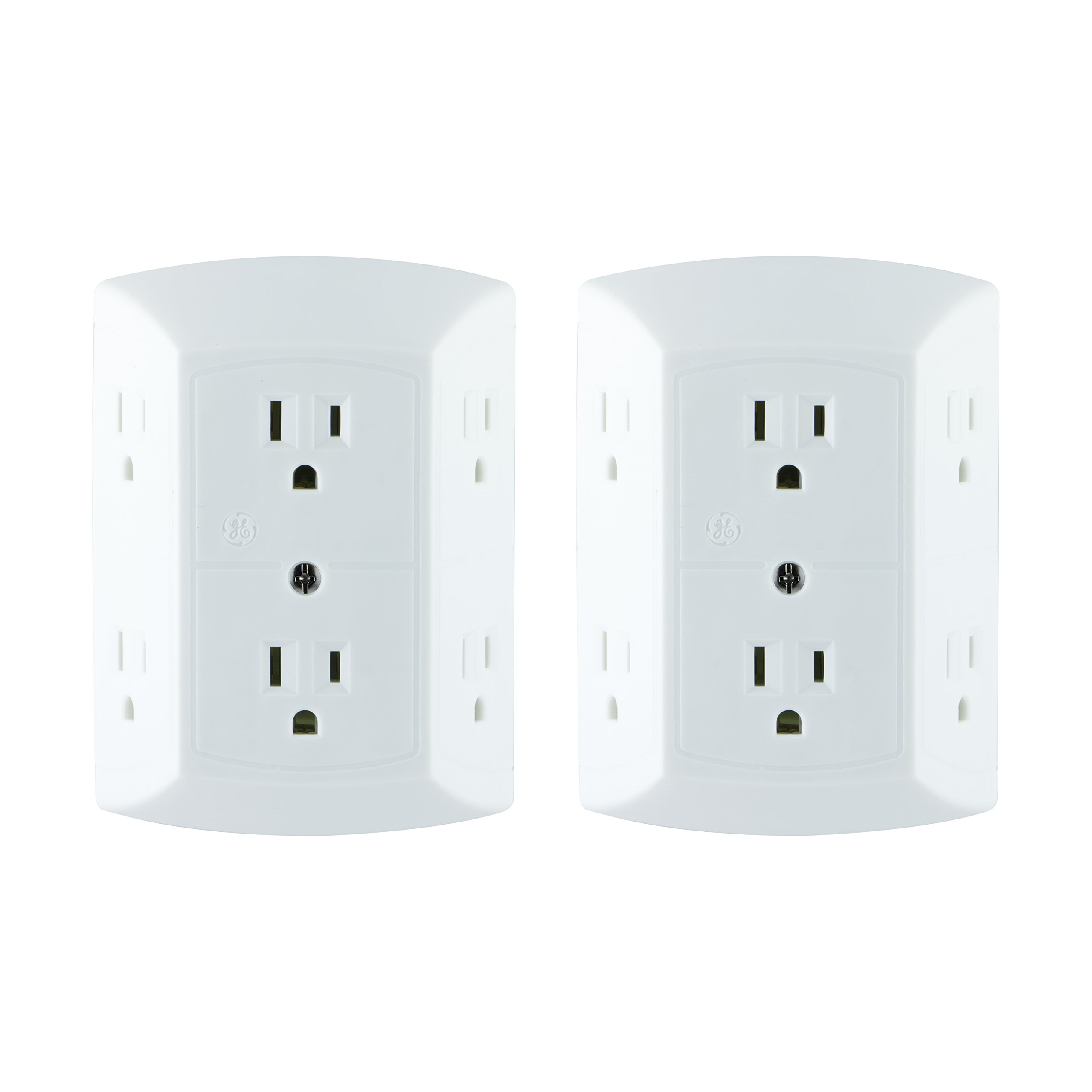 2 Pack: GE Grounded 6-Outlet Wall Tap with Adapter Spaced Outlets, Easy-to-Install, UL Listed, 40222