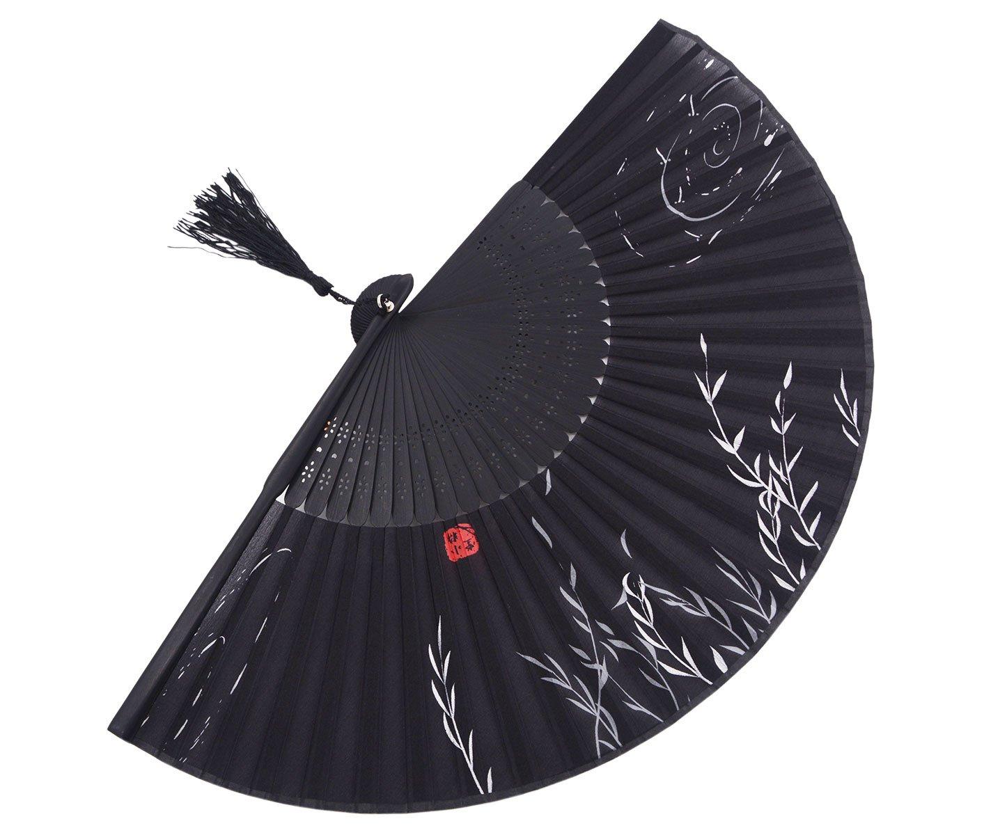AW-4 Amajiji Chinese Japanese Handheld Folding Fan Black//White Plant and Red Seal,Chinese Vintage Retro Style