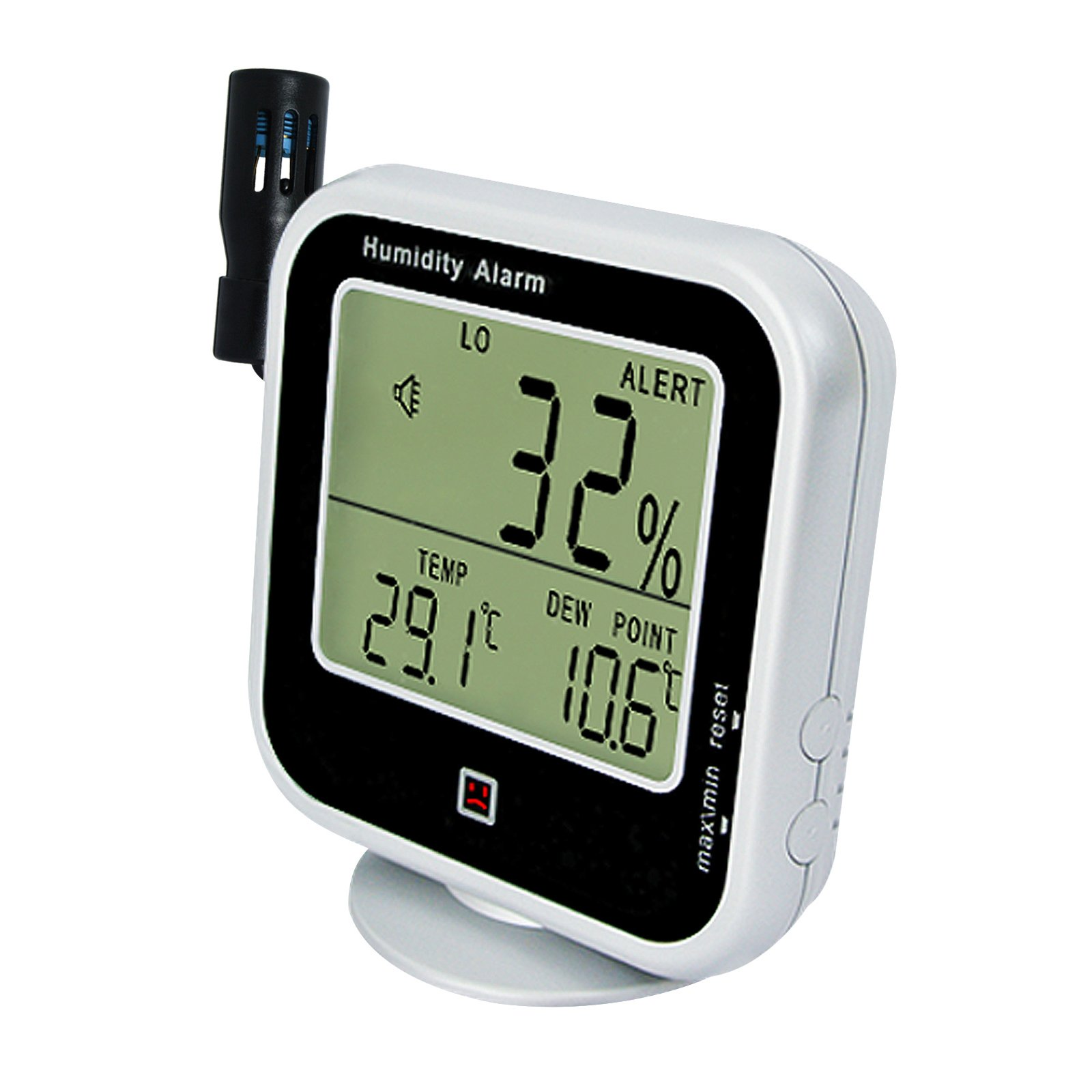 Digital Indoor or Outdoor Hygrometer and Thermometer, Dew Point Humidity Alarm 14~140°F Temperature