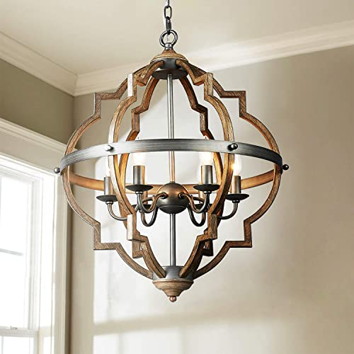 Saint Mossi Stardust Distressed Oak Finish Farmhouse Orb Chandelier Lighting Flush LED Ceiling Light Fixture Pendant Lamp Dining Room Bedroom Livingroom 6 E12 LED Bulbs Required Height 29 Width 21